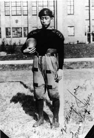Korean Americans - Korean-American football player in Chicago, 1918