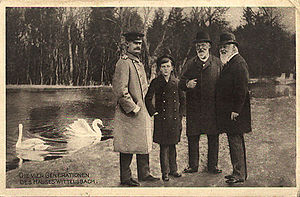 Nymphenburg Palace - Luitpold, Prince Regent of Bavaria with his son Ludwig, his grandson Rupprecht and his great-grandson Luitpold in the park of Nymphenburg Palace, about 1910