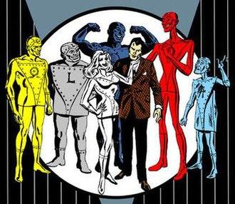 """Metal Men - The Metal Men: (left to right) Gold, Lead, Iron (back), Platinum, Dr. William """"Will"""" Magnus, Mercury,Tin."""
