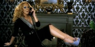 Shake It Off (Mariah Carey song) - Carey ending her relationship with her lover via an answering machine. The image also shows the singer wearing the high heels, which required her assistance for moving around in them.