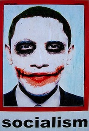 """Barack Obama """"Joker"""" poster - United States President Barack Obama depicted as the Joker, a comic book supervillain, based on the portrayal by Heath Ledger in The Dark Knight."""