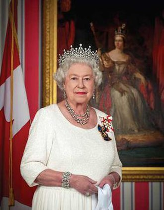 Government of Canada - Her Majesty Queen Elizabeth II of Canada, wearing her Canadian insignia as Sovereign of the Order of Canada and the Order of Military Merit