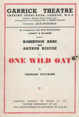 One Wild Oat - Theatre Programme from the original West End production.