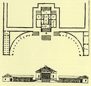 Quadrant (architecture) - Plan by Palladio showing a design for a villa with symmetrical quadrant colonnades