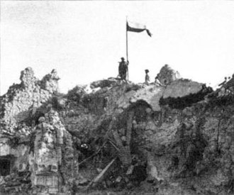 II Corps (Poland) - Polish flag flew over the ruins of the Monte Cassino monastery. The road to Rome was open.