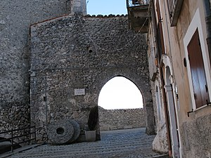 Castel del Monte, Abruzzo - Porta San Rocco, the main gate to historic Castel del Monte. Until the end of the 19th Century, the town's five gates were shut each night to keep out bandits