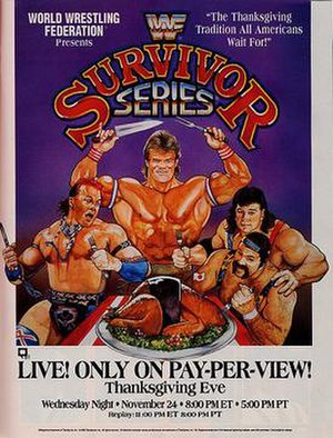 Survivor Series (1993) - Promotional poster shows Tatanka (who did not compete on the card), Lex Luger and Rick and Scott Steiner feasting on a turkey dressed as Yokozuna