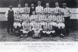 Frank Scott-Walford - Team photograph for the 1905/06 cup season. Scott-Walford is in the back row to the left of the goalkeeper.