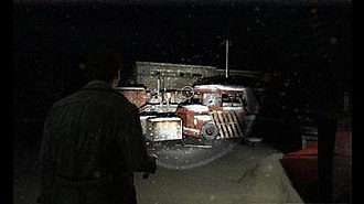 Silent Hill: Shattered Memories - In this screenshot,  Harry Mason explores the snowy town of Silent Hill.