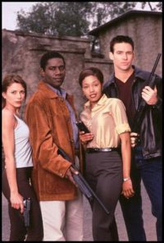 Sliders - The Season 5 characters. From left to right: Maggie Beckett, Rembrandt Brown, Dr. Diana Davis and Mallory