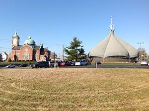 American Parkway - St. Mary's Protection Ukrainian Church (left) and St. George's Orthodox Church (right), North Front Street, Allentown