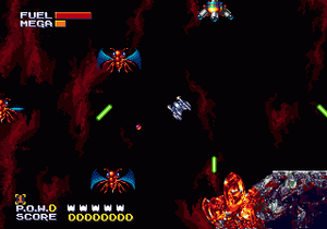 Sub-Terrania - Fighting insects in the first level of the game.
