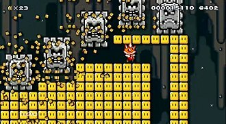 Super Mario Maker - In-game screenshot showing Mario donning a Spiny Shell helmet, a new gameplay element in Super Mario Maker, as the player guides him through a course created in the style of Super Mario World