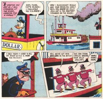 """Beagle Boys - Blackheart Beagle and his three sons, from """"The Fantastic River Race"""" (1957)."""