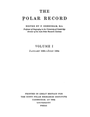 Polar Record - Volume 1, first published in 1931