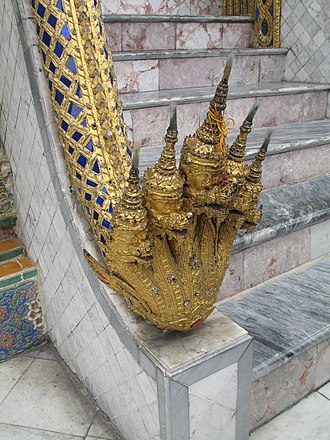 Nāga - Naga at the steps of a building in the Wat Phra Kaew in Bangkok