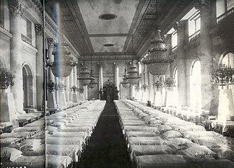 Neva Enfilade of the Winter Palace - 1915, the Nicholas Hall transformed into a hospital ward
