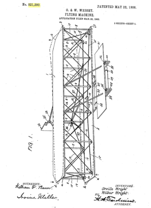 Oblique view of the airplane - Wright 1906 Patent