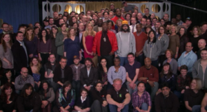 "Last Lunch - The cast of 30 Rock, referencing the end of fictional show ""TGS"" and the series itself"