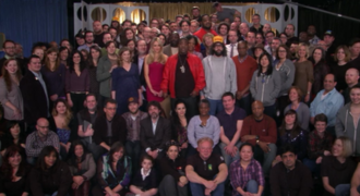 """Last Lunch - The cast of 30 Rock, referencing the end of fictional show """"TGS"""" and the series itself"""
