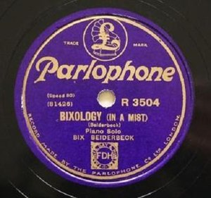 "In a Mist - UK 78 single release of ""Bixology (In a Mist)"" on Parlophone, R 3504."
