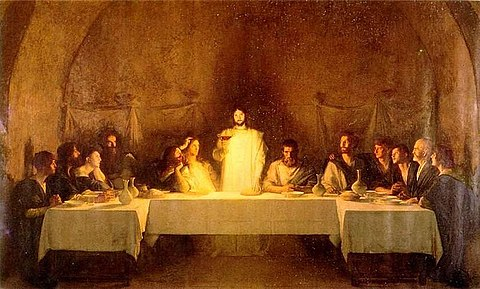 The Last Supper has been depicted by many artistic masters. This Last Supper is by Pascal Dagnan-Bouveret (1896) BouveretLastSupper.jpg