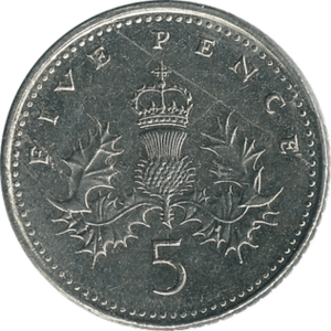Five pence (British coin) - Original reverse: 1968–2008