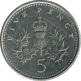 British five pence coin 1990 reverse