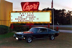 A Bullitt Ford Mustang replica at the Capri Dr...