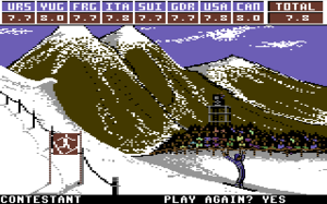 "Winter Games - Screenshot from Winter Games (C64): the ""Hot Dog Aerials"" event."