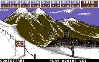 """Commodore 64 software - Winter Games: the """"Hot Dog"""" event."""