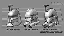 Concept art comparing three different clone trooper helmets.