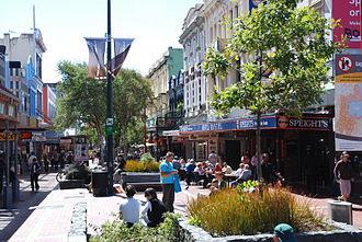 Cuba Street, Wellington - Cuba St.looking north from Ghuznee in summer