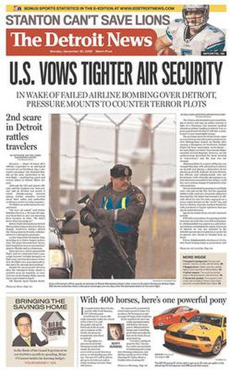 The Detroit News - The December 28, 2009, front page of The Detroit News