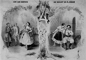 Le diable à quatre (ballet) - Frontispiece from a piano reduction of pieces taken from the Mazilier/Adam Le Diable à quatre, 1845. The frontispiece depicts, from left to right - Lucien Petipa, Jean Coralli, Carlotta Grisi, Maria Mazilier, and Joseph Mazilier.
