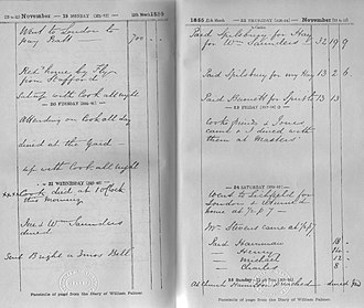 William Palmer (murderer) - Palmer's diary recording the death of Cook