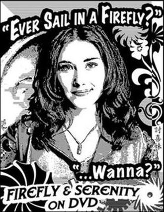 "Firefly (TV series) - Example fan artwork produced by Susan Renee Tomb (widely known in the Browncoat community as ""11th Hour"") used as guerrilla marketing to promote sale of Firefly and Serenity DVDs."