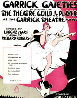 <i>The Garrick Gaieties</i> 1925 revue with music by Richard Rodgers and lyrics by Lorenz Hart