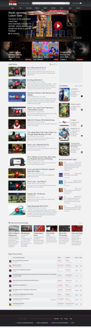 Giant Bomb - The Giant Bomb homepage in August 2013.
