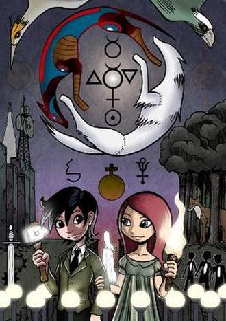 """Gunnerkrigg Court - """"Second Treatise,"""" an image by Tom Siddell that shows the characters Antimony (r.) and Kat (l.) and exemplifies Siddell's artistic styles and narrative motifs."""