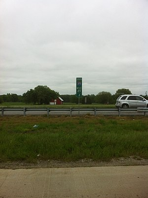 Interstate 49 - I-49 milepost marker south of Carthage, Missouri, temporarily turned so as not to be visible to traffic.