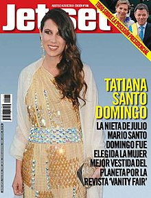 "Front cover of issue 196 of Jet-Set featuring heiress and socialite Tatiana Santo Domingo on the lower right side it reads ""Tatiana Santo Domingo, granddaughter of Julio Santo Domingo was chosen World's Best Dressed Woman by Vanity Fair magazine"". On the upper right hand corner a small picture of Colombia's then-newly inaugurated president Juan Manuel Santos Calderón and his wife First Lady María Clemencia Rodríguez Múnera to his left, bordered on the left with a yellow ban going from left to right diagonally from the top that reads ""All about the presidential inauguration""."