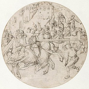 Tournament (medieval) - The joust outlasted the tournament proper and was widely practiced well into the 16th century (sketch by Jörg Breu the Elder, 1510)