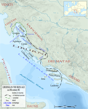 Liburnians - Liburnian territory during the 5th century BC