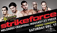A poster or logo for Strikeforce: Melendez vs. Masvidal.