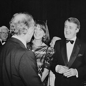 History of Canada (1982–92) - Mila (left) and Brian (right) Mulroney greet Rt. Hon. Pierre Trudeau (Foreground).