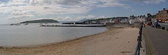 Millport, Cumbrae - View of Millport and Little Cumbrae. Isle of Arran in the background