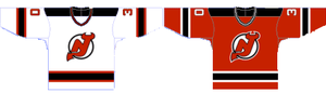 Two jerseys, the left primarily white, the right mostly red. Both feature red, white and black stripes at the bottom and the sleeves. The shoulders have a black yoke.