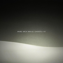 A black background with a wavy white hill-like shape on the bottom The words Nine Inch Nails Ghosts IIV are seen in the middle