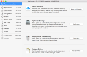 MacOS Sierra - This image shows what the Optimized Storage suggestions are.